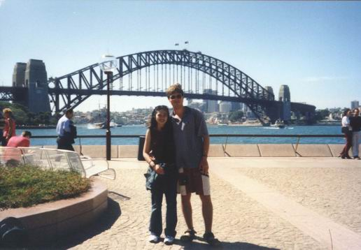 With Arty in front of Sydney Harbor Bridge.