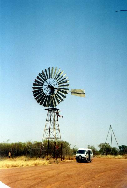 Huge water pump propeller in desert - Threeways.