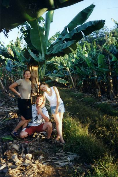With Janette & Cathy on banana farm.